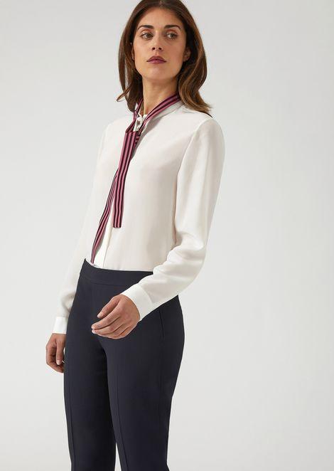 Lightweight silk crepe shirt with grosgrain jacquard bow