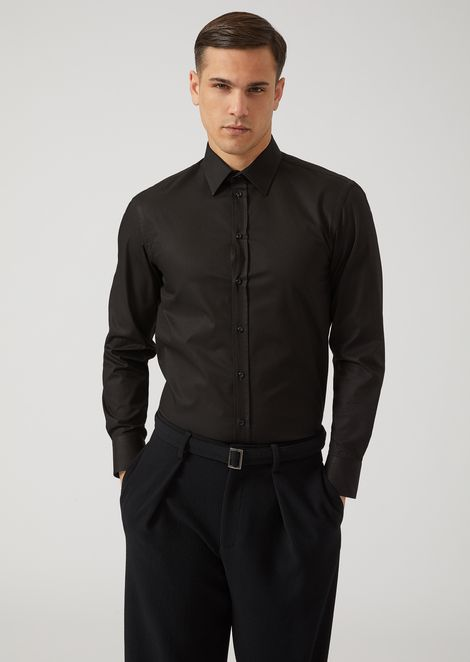 Micro-weave pure cotton shirt with classic collar