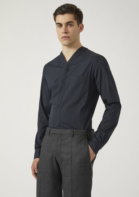 Stretch cotton shirt with V-neck and breast pocket