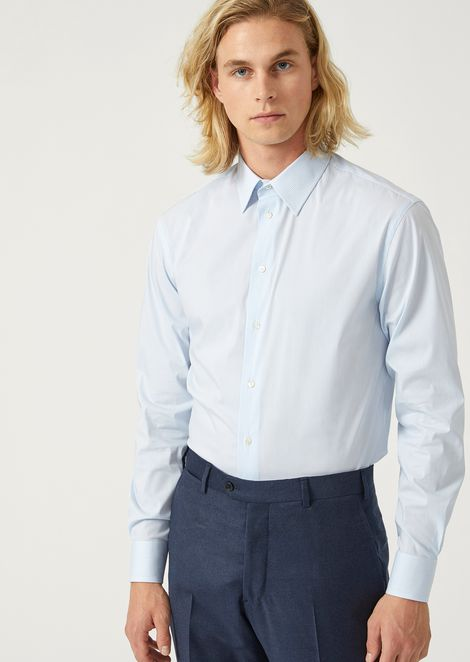 Modern fit striped cotton shirt with classic collar