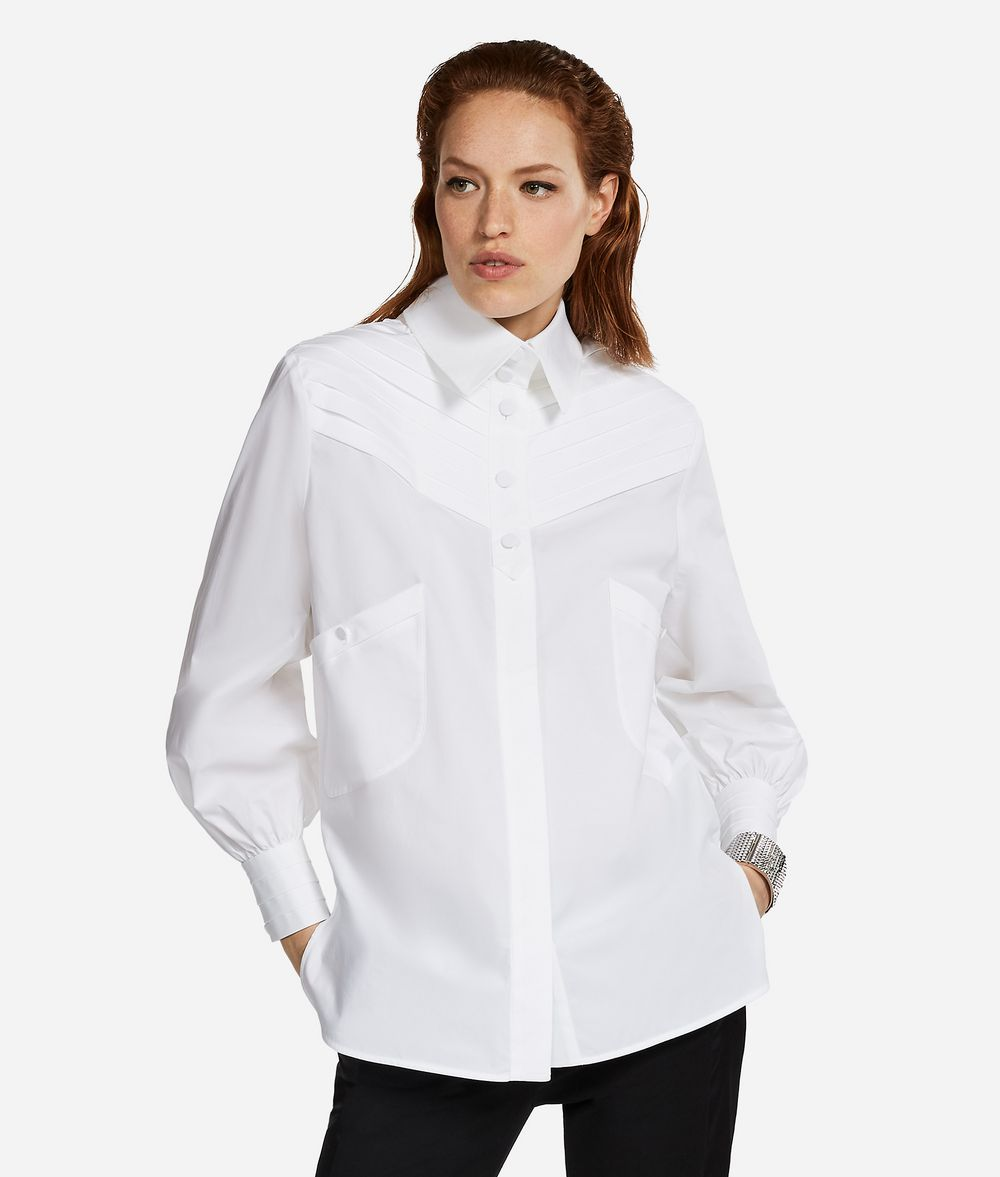 KARL LAGERFELD KARL Fitted Pleated Shirt Blouse Woman f