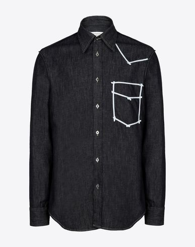 MAISON MARGIELA Long sleeve shirt Man Contrasted denim shirt f