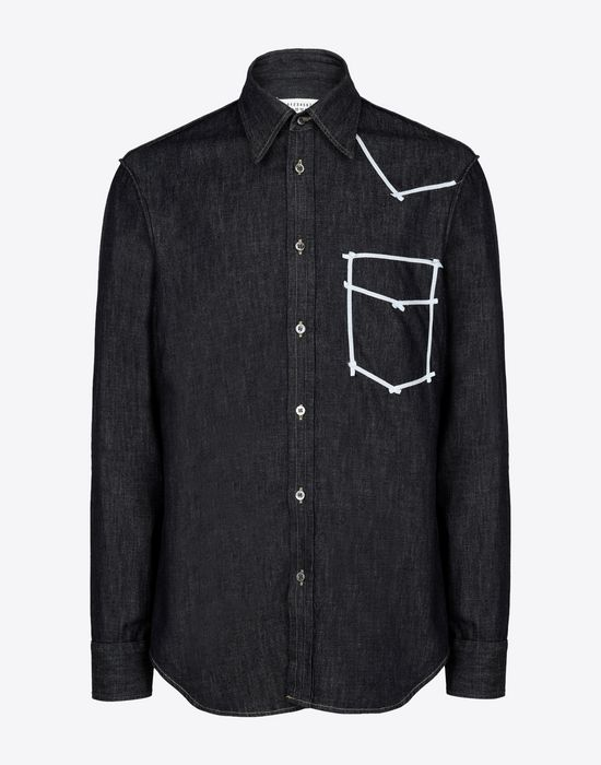 MAISON MARGIELA Contrasted denim shirt Long sleeve shirt Man f