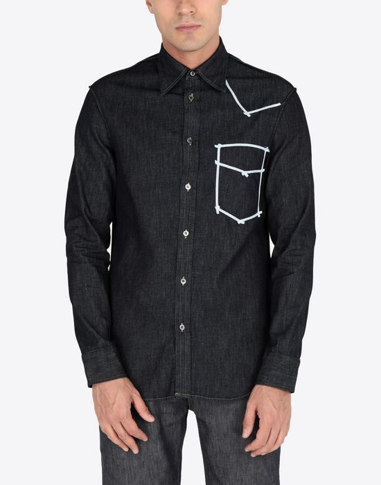 MAISON MARGIELA Contrasted denim shirt Long sleeve shirt Man r