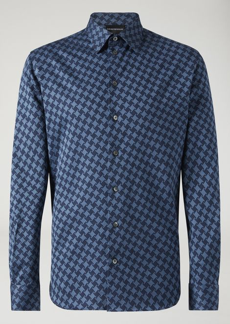 Modern fit printed cotton shirt with small collar