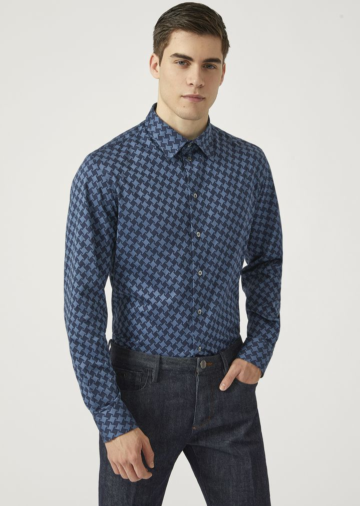 aa860399a9 Modern fit printed cotton shirt with small collar | Man | Emporio Armani
