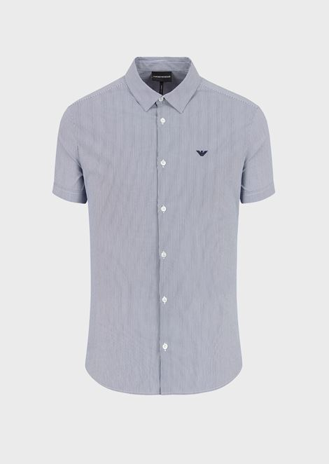 Short-sleeved stretch cotton poplin shirt