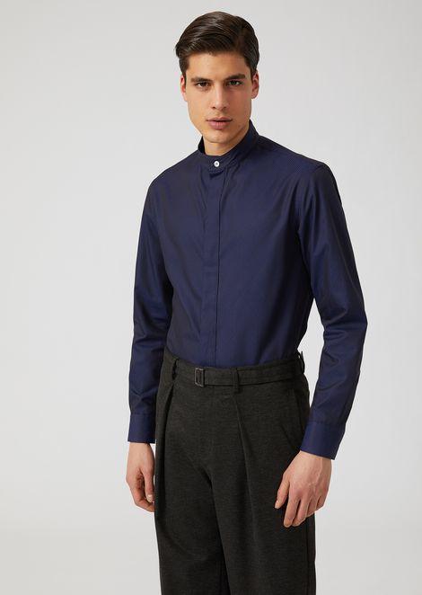 Jacquard cotton shirt with Mandarin collar