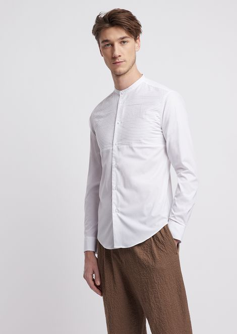 Shirt in stretch cotton with mandarin collar and striped fabric