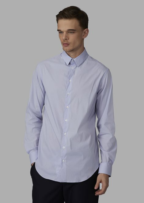 Camicia regular fit in cotone stretch con vele piccole
