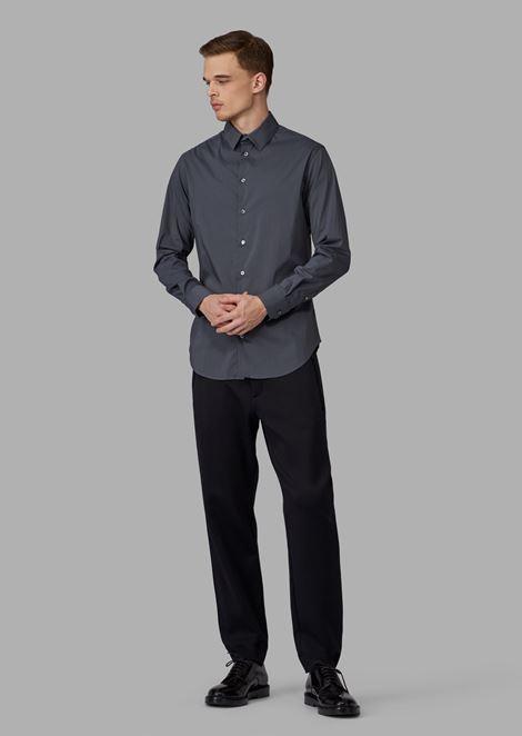 Camicia regular fit in cotone stretch con vele piccole