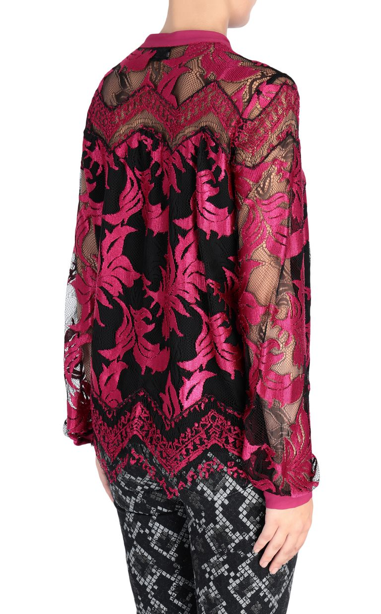 JUST CAVALLI Magenta lace shirt Blouse [*** pickupInStoreShipping_info ***] d