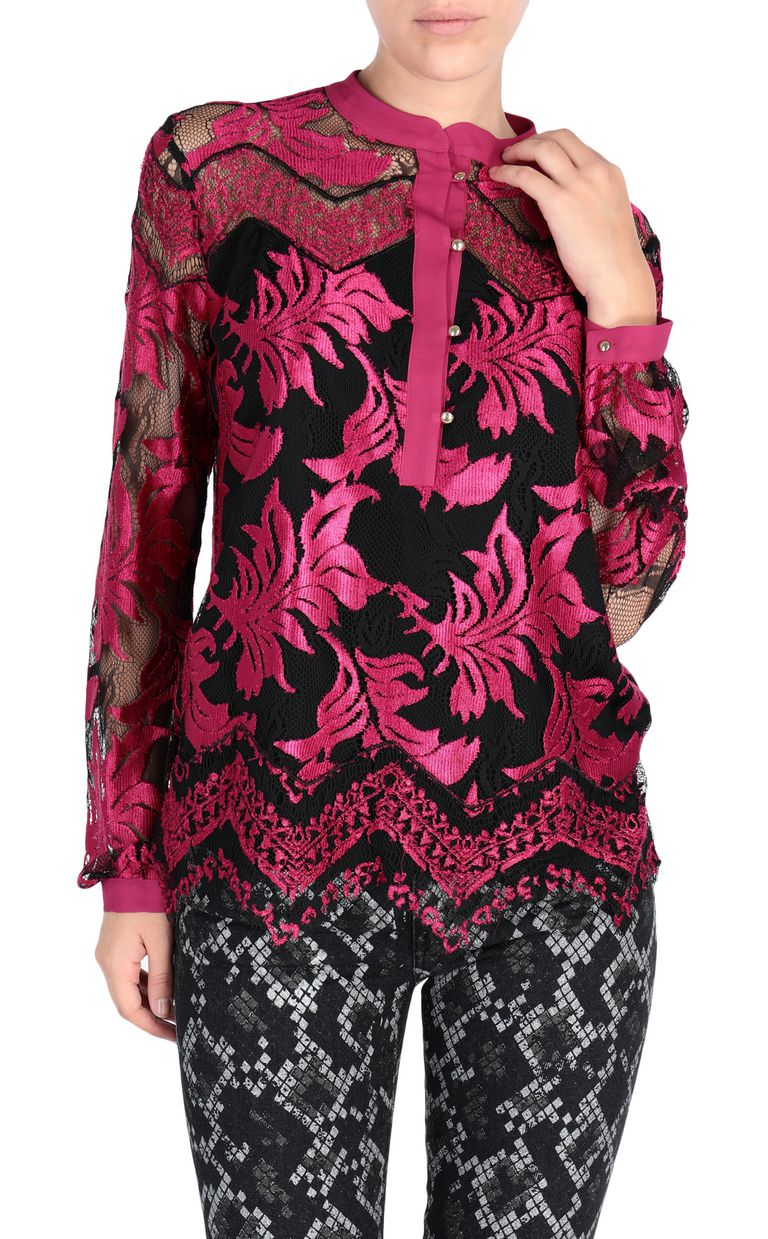 JUST CAVALLI Magenta lace shirt Blouse [*** pickupInStoreShipping_info ***] f