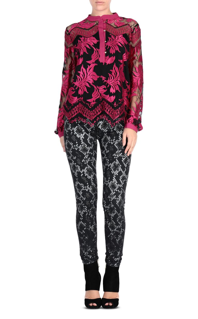 JUST CAVALLI Magenta lace shirt Blouse [*** pickupInStoreShipping_info ***] r