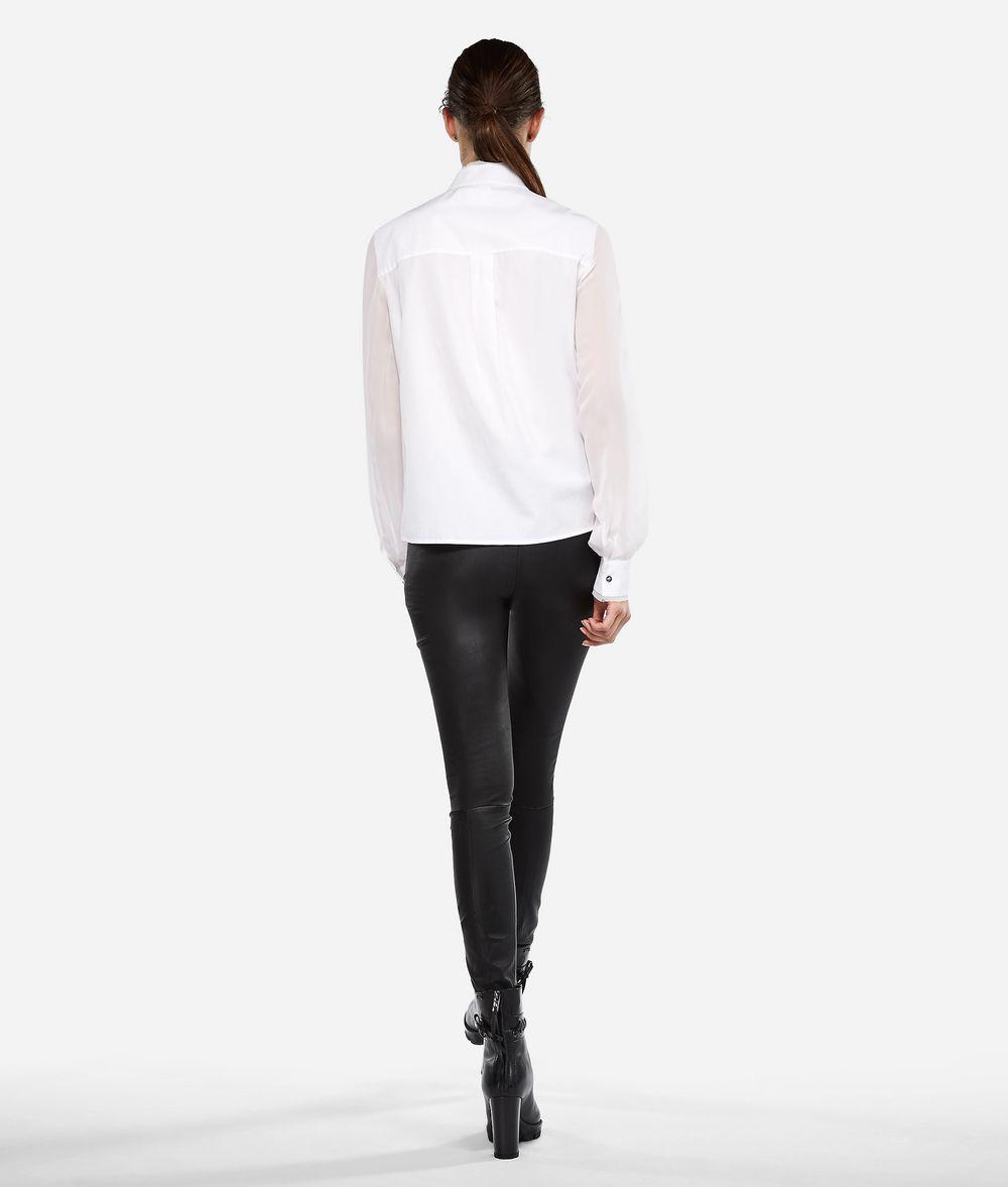 KARL LAGERFELD Cotton Silk Pintuck Shirt Blouse Woman d