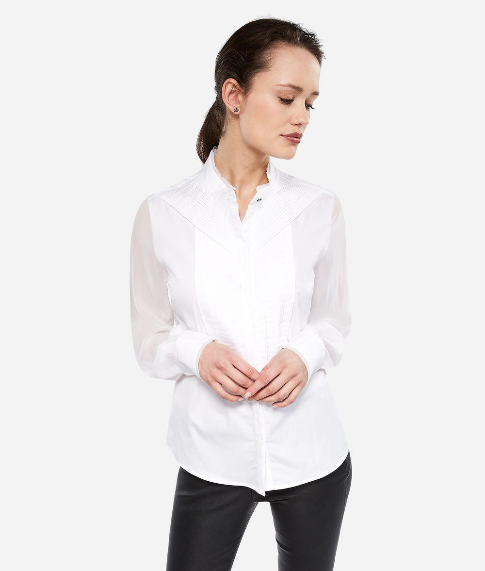 KARL LAGERFELD Cotton Silk Pintuck Shirt Blouse Woman f