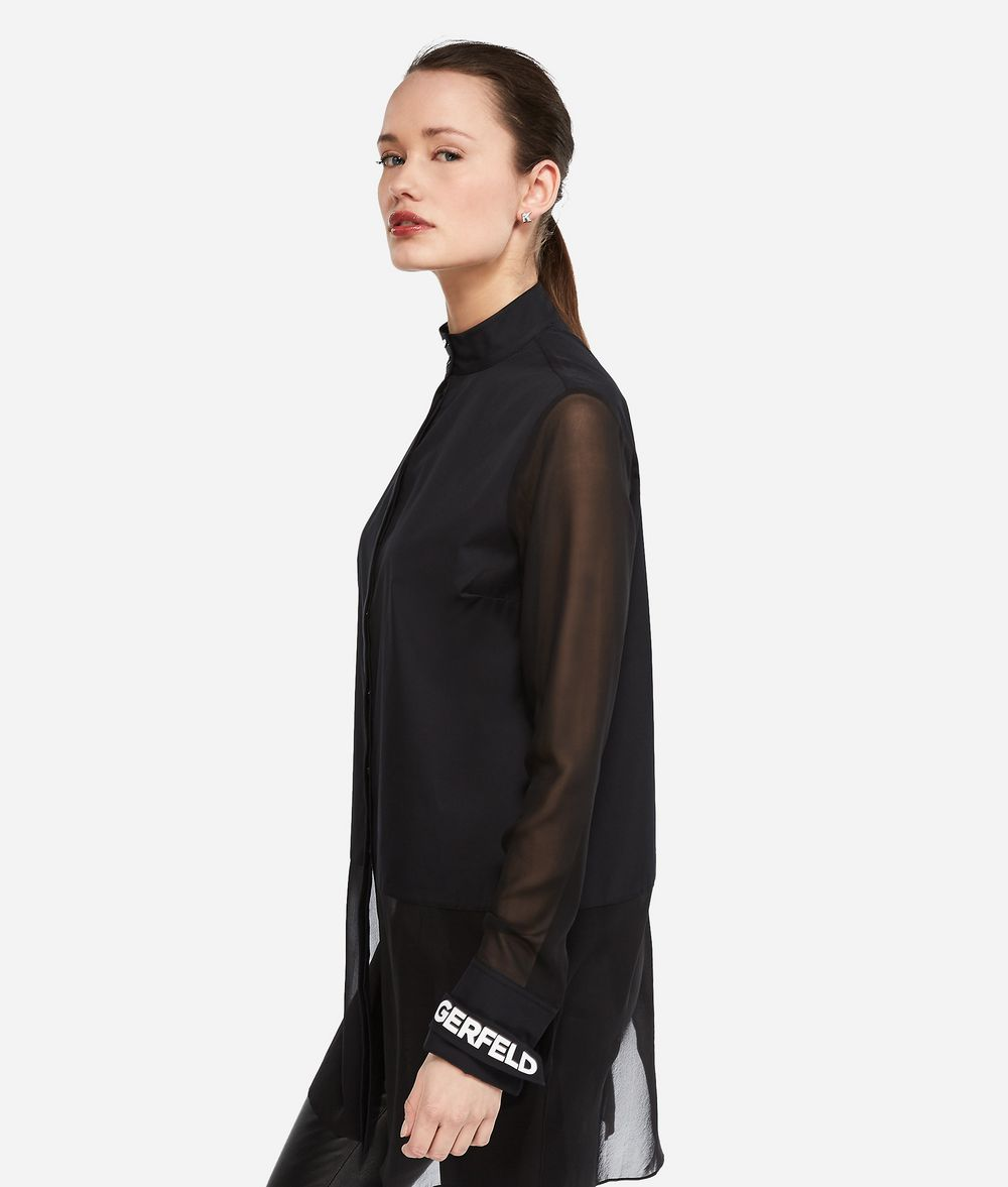 KARL LAGERFELD Long Cotton and Silk Shirt Blouse Woman d