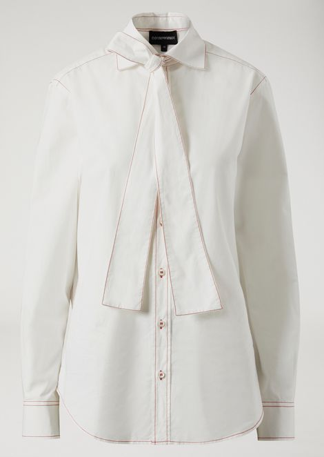 Cotton poplin shirt with bow and contrast stitching
