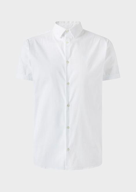 Slim fit poplin short-sleeved shirt