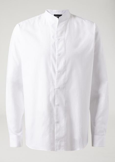 Modern fit ribbed cotton shirt