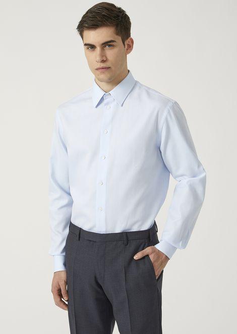 Modern fit micro-check textured cotton shirt