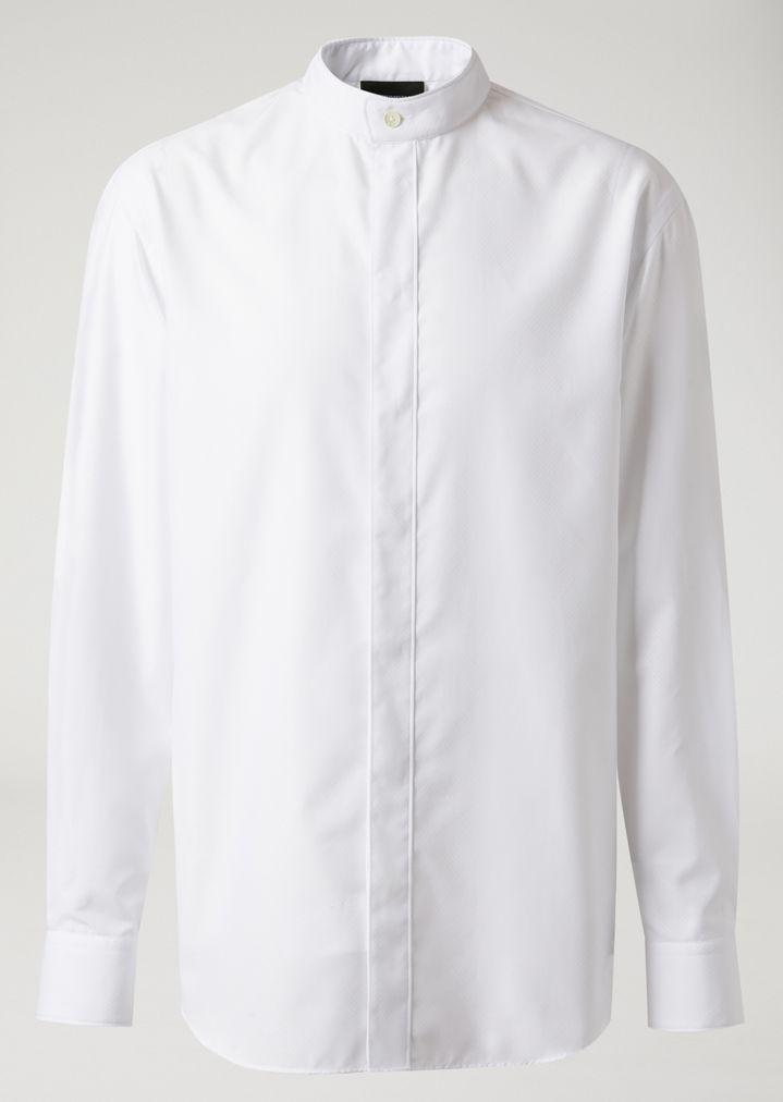 4d0a30628a Jacquard cotton shirt with Mandarin collar | Man | Emporio Armani