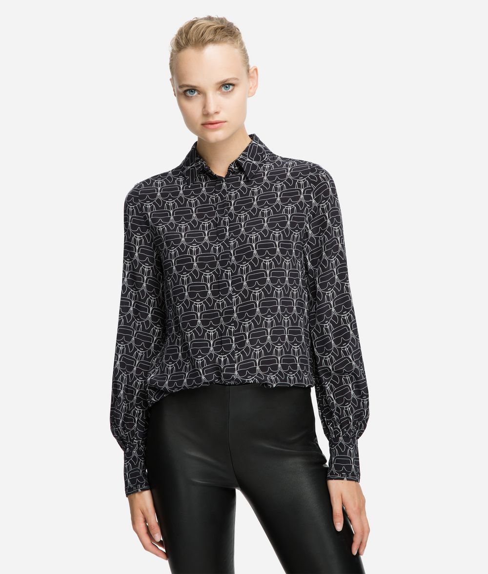 KARL LAGERFELD K/Ikonik Printed Silk Shirt Blouse Woman f