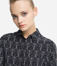 KARL LAGERFELD K/Ikonik Printed Silk Shirt Blouse Woman r