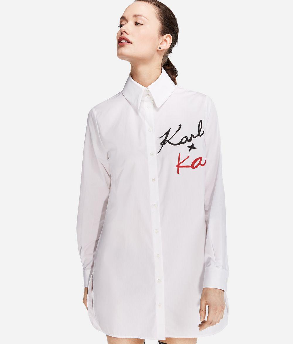 KARL LAGERFELD Karl X Kaia Logo Poplin Shirt Blouse Woman f