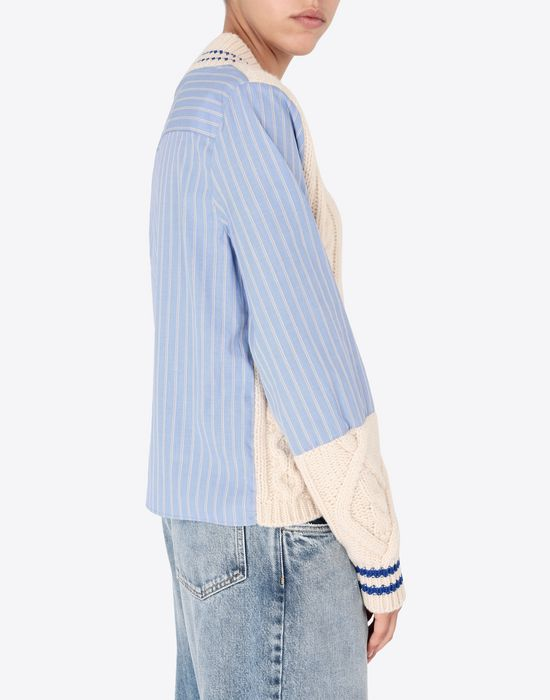 MAISON MARGIELA Pinstriped poplin shirt with knit Long sleeve shirt [*** pickupInStoreShipping_info ***] b