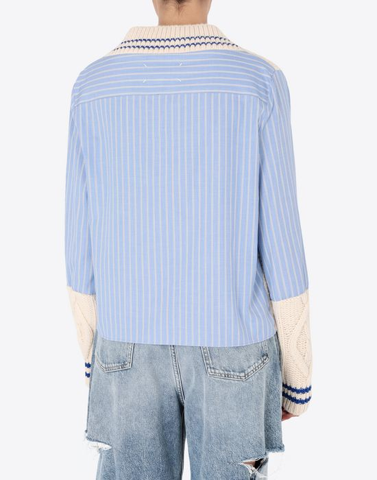 MAISON MARGIELA Pinstriped poplin shirt with knit Long sleeve shirt [*** pickupInStoreShipping_info ***] e
