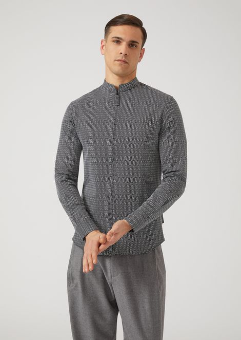 Slim-fit woven cotton jersey shirt with full-zip collar
