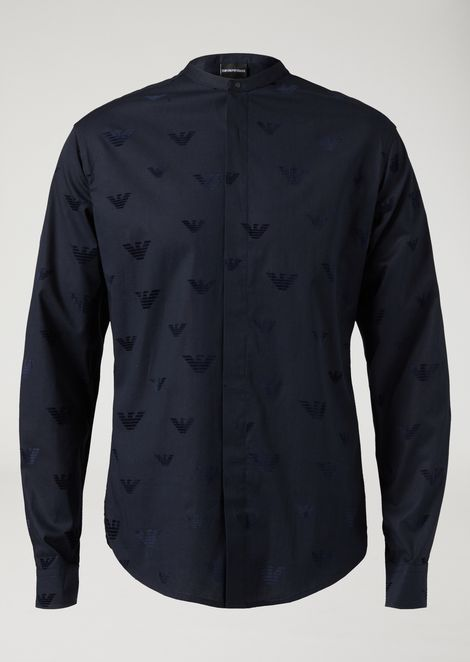 Flock print stretch poplin shirt with eagles and Mandarin collar