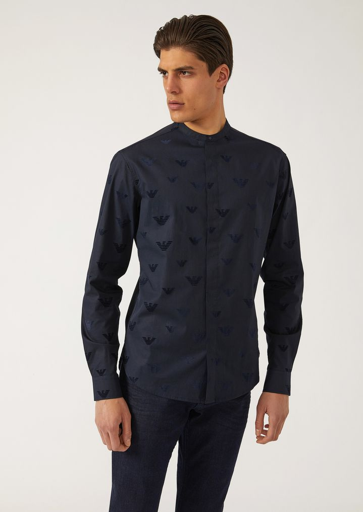 ef7eb5139fee Flock print stretch poplin shirt with eagles and Mandarin collar ...