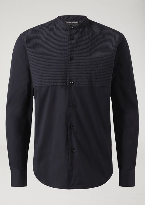 Stretch cotton shirt with Mandarin collar and striped fabric