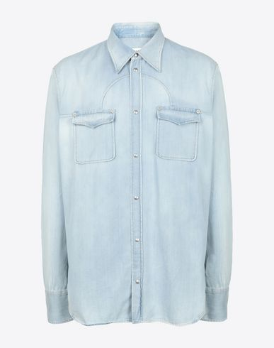 MAISON MARGIELA Bleached denim shirt Denim shirt Man f