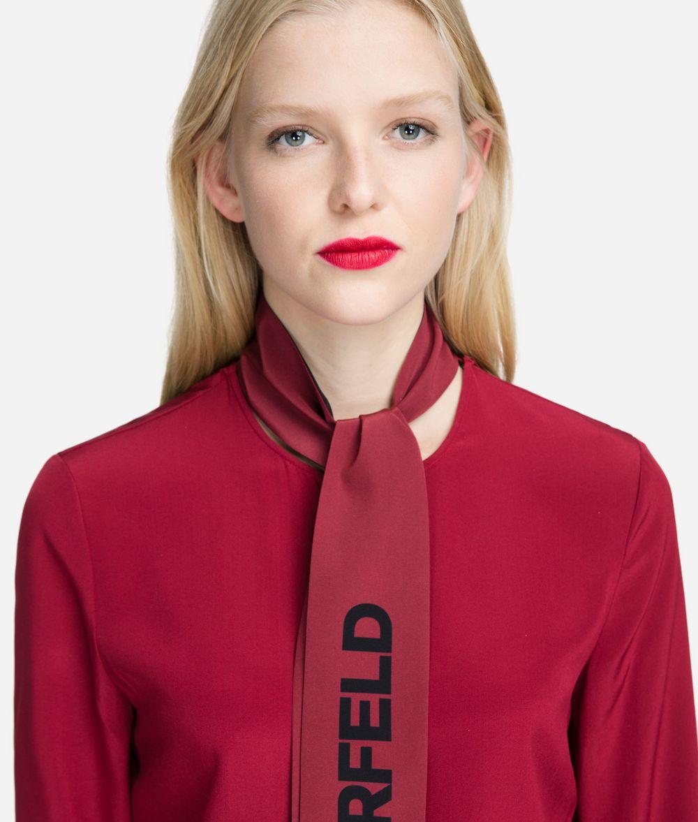 KARL LAGERFELD Logo Bow Silk Blouse Blouse Woman d