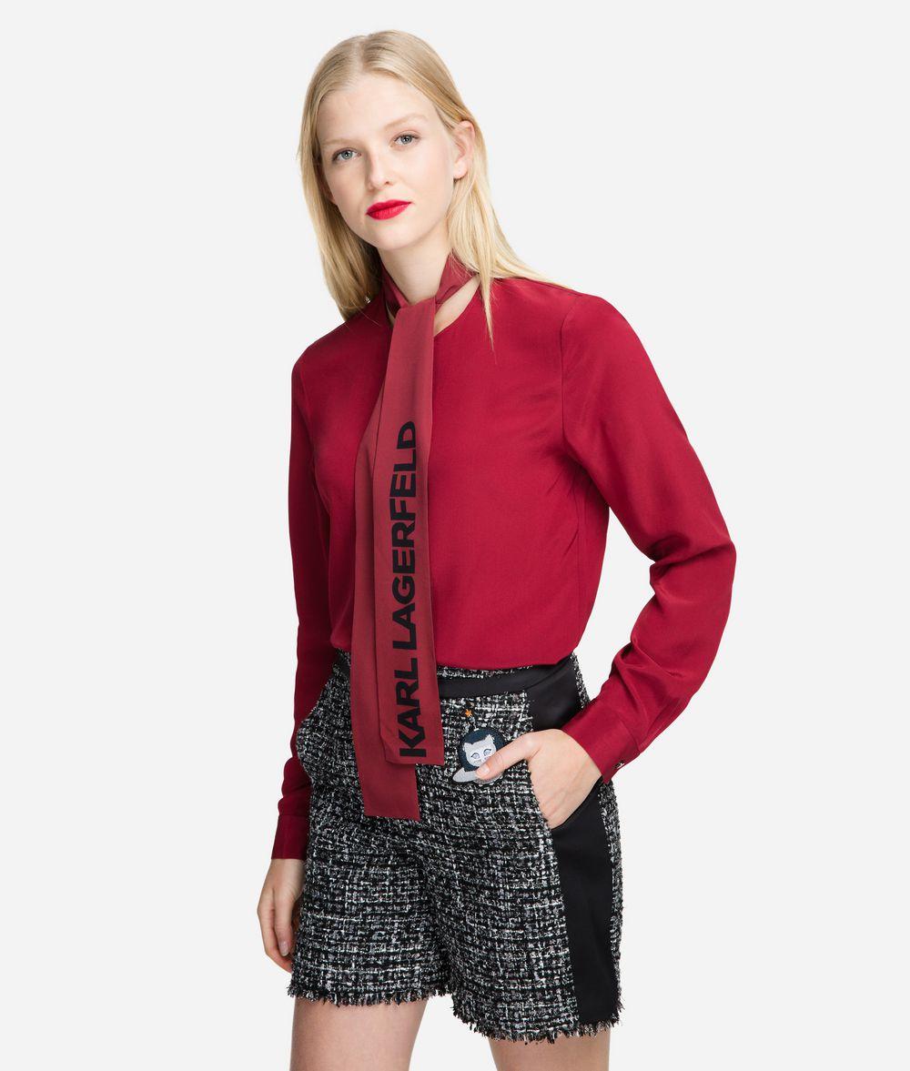 KARL LAGERFELD Logo Bow Silk Blouse Blouse Woman f