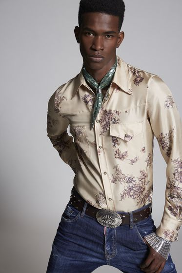 DSQUARED2 Flower Printed Silk Fashion Western Shirt 长袖衬衫 男士
