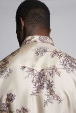 DSQUARED2 Flower Printed Silk Fashion Western Shirt Camicia maniche lunghe Uomo
