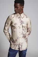 DSQUARED2 Flower Printed Silk Fashion Western Shirt Long sleeve shirt Man