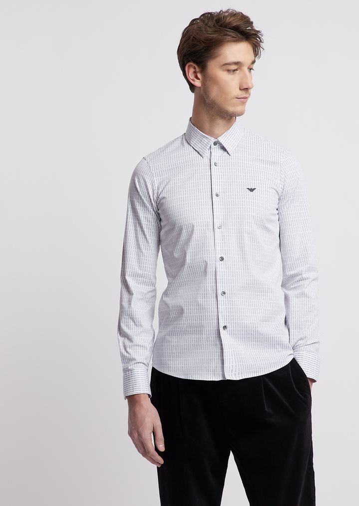 1a25cbe934 Shirt in comfort poplin with all-over print | Man | Emporio Armani