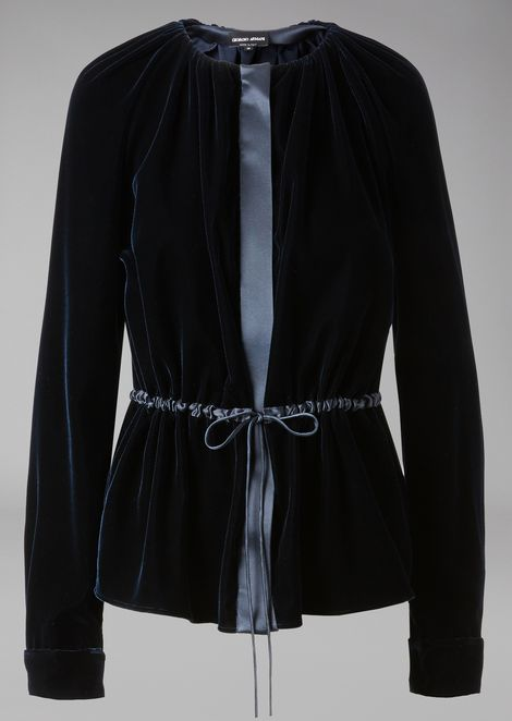 Velvet blouse with satin inserts, central zip and drawstring waist