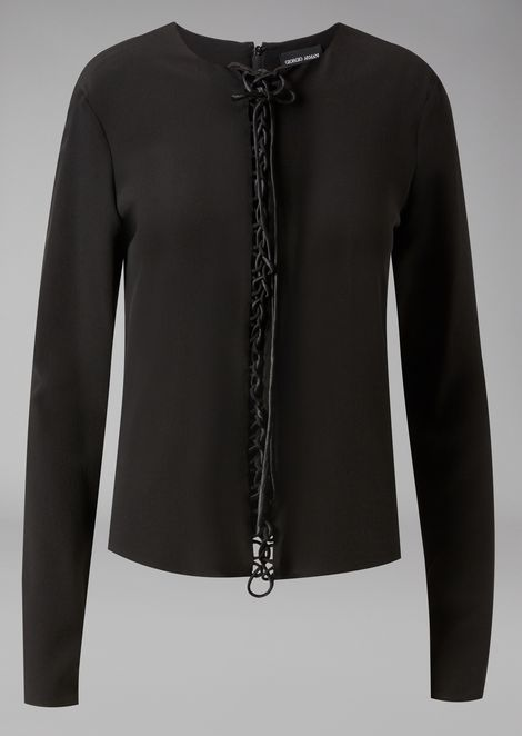 Pure silk blouse with satin laces down the centre