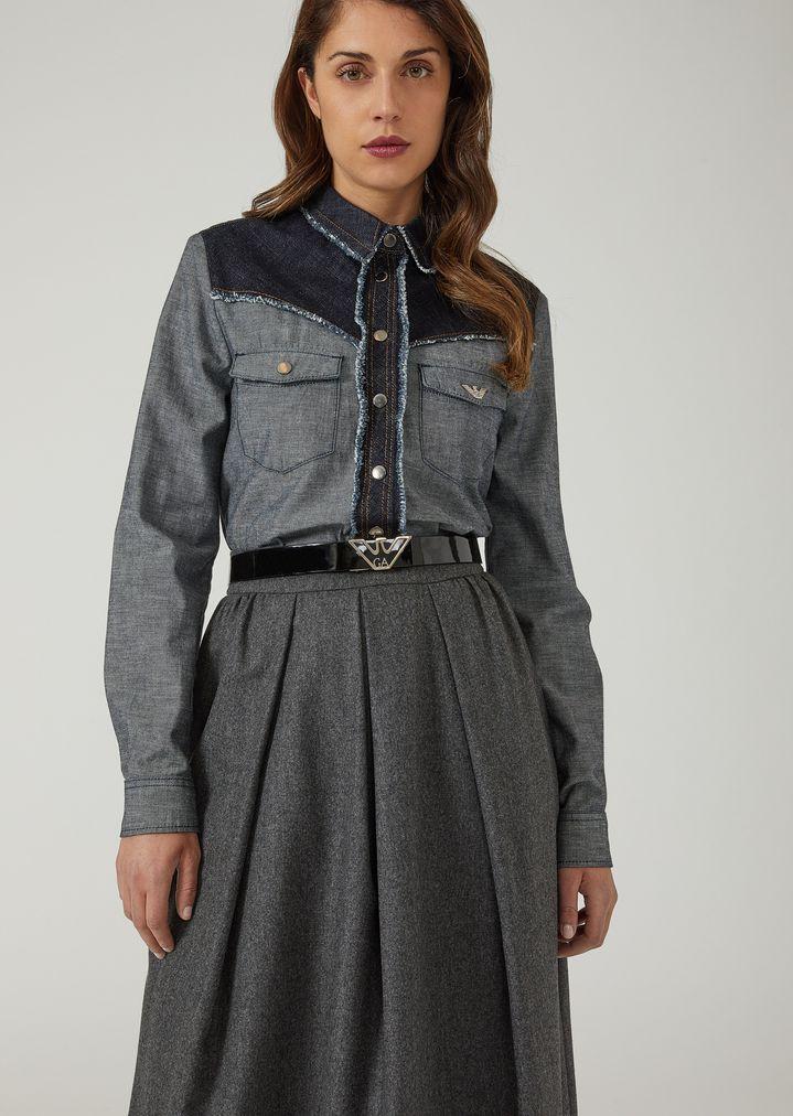 ff832bfe53 Camicia bicolore in denim speciale con rouches | Donna | Emporio Armani