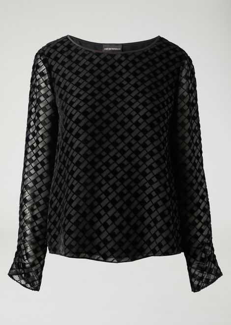 Silk blend blouse with diamond pattern in flocked fabric