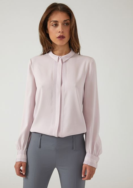 Silk voile shirt with a small collar and braided details