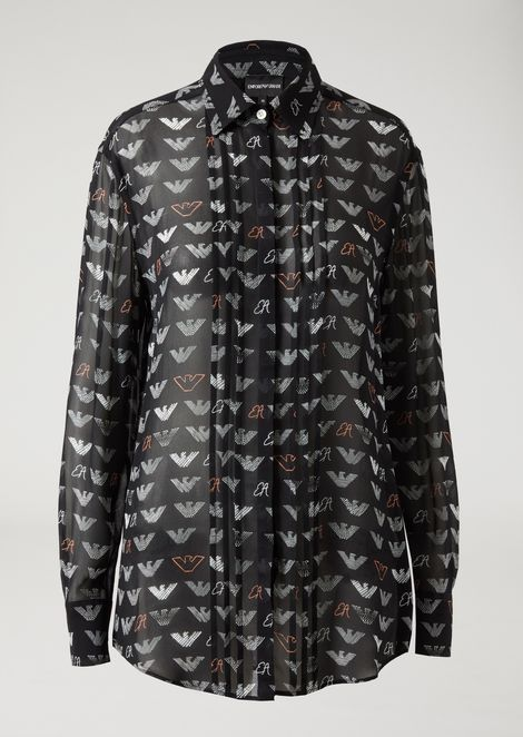 Crepe shirt with all-over logo pattern