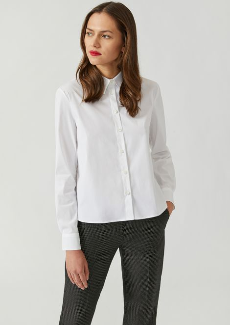 Poplin shirt with pleated back panel