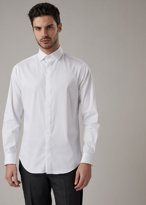 Classic slim fit shirt made of exclusive micro-textured fabric
